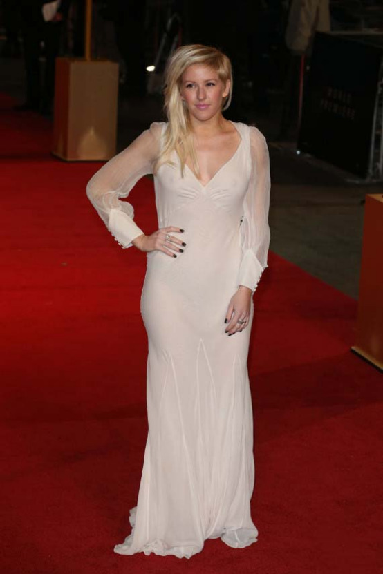 ellie goulding 01 Ellie Goulding Has Wardrobe Malfunction In Sheer White Dress