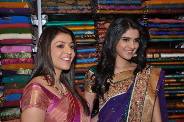 kajal and deeksha seth at kalamandir new store launch 1 Kajal and Deeksha Seth at Kalamandir New Store Launch