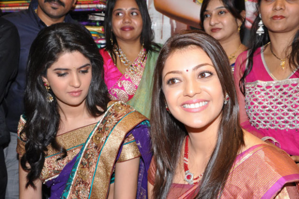 kajal and deeksha seth at kalamandir new store launch 1121 Kajal and Deeksha Seth at Kalamandir New Store Launch
