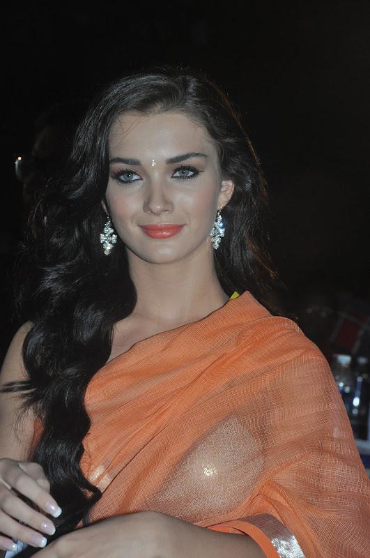 amy-jackson-hot-stills-in-transparant-saree-2