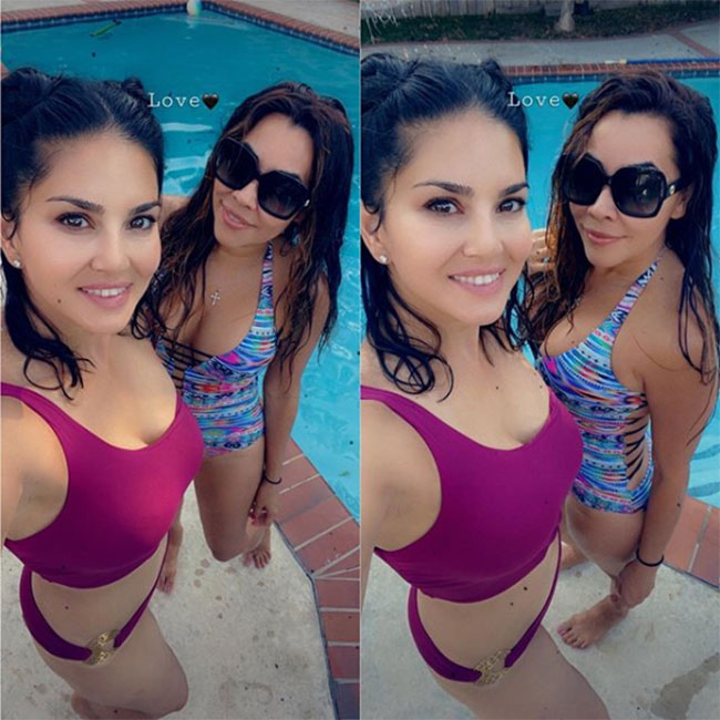 Sunny Leone Teases In A Pink Two-Piece!